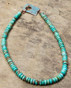 Genuine Turquoise Necklace with Copper by ElliottClaireJewelry, $78.00