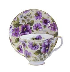 English Bone China Teacup & Saucer Pansy Chintz Decor  by Royal Victorian Chinaware