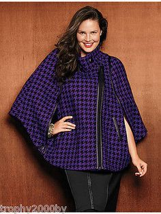 NEW LANE BRYANT PLUS SIZE HOUNDSTOOTH CAPE COAT JACKET SZ 22/24
