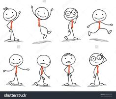 Stick Man With Different Poses Of Walking, Jumping, Thinking, Running And Standing Стоковая векторная иллюстрация 366662393 : Shutterstock