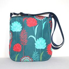 Retro Showerproof Cross Body Messenger Bag in Unique Meadow Print Fabric ** Check out the image by visiting the link.-It is an affiliate link to Amazon.
