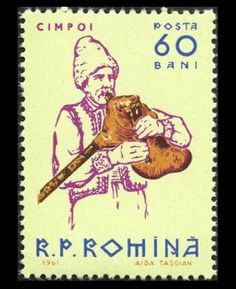 """~Stamp No. 36: Romania~  Another handsome stamp, which while not showing a lot of detail of the bagpipe has proportions and positions correct. The gaida in numerous variations is found throughout this part of the world, and is represented on our """"Bagpipes of the World"""" CD album."""