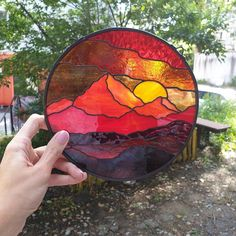 Stained Glass Suncatchers, Stained Glass Projects, Stained Glass Patterns, Stained Glass Art, Stained Glass Windows, Fused Glass, Glass Artwork, Sunset Landscape, Glass Panels