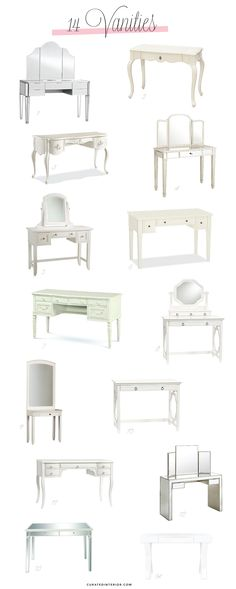 If you're looking for a makeup table or bedroom vanity, then consider these twelve ultra-galmorous vanities with white or mirrored sides! Makeup Vanities, White Mirror, Design Your Home, Love Home, Home Decor Inspiration, Vanity, Interior Design, Bedroom, Quartos