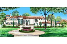 This courtyard house plan has 4 bedrooms & a large game room. Its grand spiral staircase & views into the private courtyard make this home unique home design. Mediterranean Homes Exterior, Mediterranean House Plans, Two Story House Plans, House Floor Plans, Living Room Double Doors, Living Rooms, Courtyard House Plans, Beautiful House Plans, Mountain House Plans