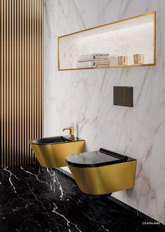 Bidet Soft Gold Black by Ceramica Catalano Bathroom Styling, Bathroom Interior Design, Interior Ideas, Black And Gold Bathroom, Toilet Room, Toilet Design, Loft Design, Key Design, Style Tile
