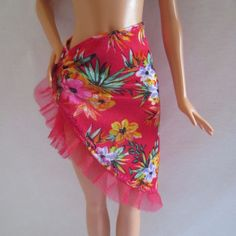 a62945d85209 2016 Barbie Glam Vacation Doll Swim Beach Fashion Red Floral Cover Up Skirt  #Mattel