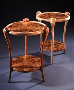 Curly Maple and Mappa Burl End Tables by Culin & Colella, Inc. Unique Wood Furniture, Wood Furniture Store, French Furniture, Miniature Furniture, Woodworking Furniture, Fine Woodworking, Furniture Making, Furniture Design, Woodworking Magazines