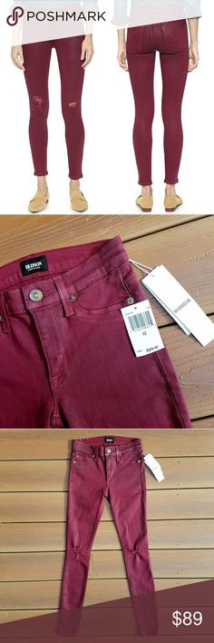 "Hudson // Nico Super Skinny Jeans Brand new with original tags!  Hudson Nico Midrise Deconstructed Super Skinny Crimson Wax Color Size 23 Retail Value $209  Burgundy with a light wax coating Super stretchy and comfortable Factory distress on knees  Inseam 28.25"" Rise 8"" Waist 12"" flat across  Style # WM407TEN Color # CWD Cut # 15096 Shade # A  43% Vicose, 33% Cotton, 17% Lyocell, 5% Polyester, 2% Elastan Hudson Jeans Jeans Skinny"