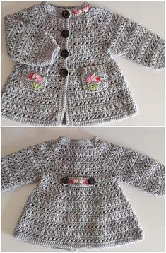 Crochet Baby Sweater Pattern, Baby Sweater Patterns, Baby Girl Crochet, Crochet Baby Clothes, Crochet Jacket, Crochet For Kids, Baby Patterns, Knit Crochet, Crochet Patterns