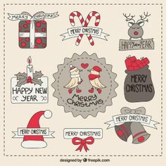 Cute collection of sketchy christmas labels