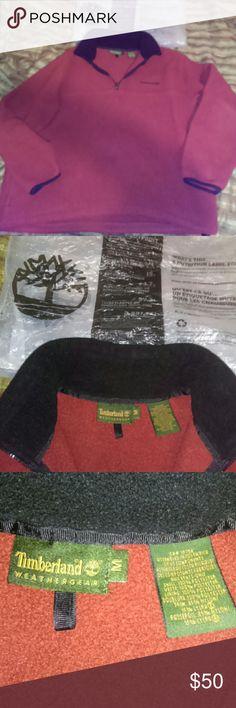 Timberland Fleece Gently used...cute...rust color...pullover...medium..see tag...rust like color!!!😁...seems bigger than medium....to me...buy it!!! Timberland Shirts Sweatshirts & Hoodies