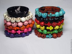 Купить или заказать Браслеты 'Черепа' в интернет-магазине на Ярмарке Мастеров. каменные браслеты с разноцветными крестами при заказе вы можете указать желаемый цвет цена указана за 1 б…