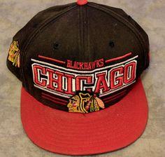 NHL Chicago Blackhawks New Era Snapback Trucker Baseball Hat Cap Black Red #NewEra #Snapback