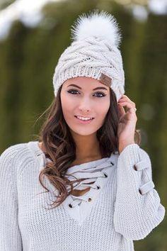 Bobble Knit Boho Love Fur Pom Beanie (Ivory) - NanaMacs.com - 1
