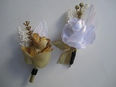 gold boutonniere wedding accessories prom party by darlyndax, $14.00
