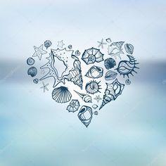 Baixar - Heart of Sea shells. Summer holidays. — Ilustração de Stock #42768411