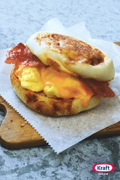 This quick recipe for a Grab‐n‐Go Breakfast Sandwich topped with bacon, egg and cheese is just the ticket for busy mornings. Hey, Drive‐Thru? Your days are numbered.