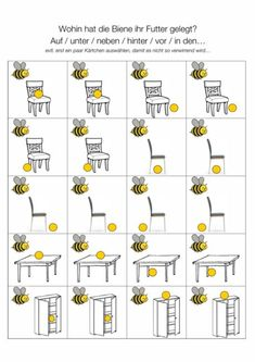 Memory to prepositions - language - I had just played with a fabric bee, a dollhouse chair and puffed rice balls. The children each put - Kindergarten Portfolio, Kindergarten Lesson Plans, Kindergarten Activities, Five Senses Preschool, My Five Senses, German Grammar, Learn German, Life Lesson Quotes, Life Quotes