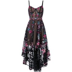 Marchesa Notte floral embroidered high-low dress ($1,095) ❤ liked on Polyvore featuring dresses, black, high low corset dress, flower embroidered dress, corset dresses, hi lo dress and skater skirt