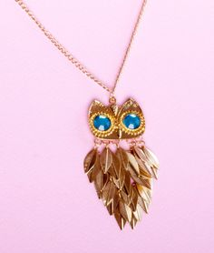 Large Owl Necklace / Long Owl Necklace Vintage Style Owl Pendant with Swarovski Crystals  Give your neck something cool to wear! This copper
