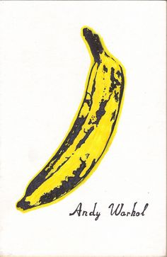 andrew warhol banana I like this picture by Andy Warhol because the simplicity of it somehow draws the eye to it. there are only two colours used yet the whole picture looks strangely realistic. he has made it look realistic by the shapes that the brown layer has created.