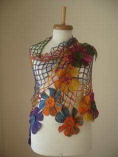 Triangle Shawl By Crochetlab Multicolor Big by crochetlab, $56.00