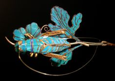 Hair pin with kingfisher feathers China Qing dynasty