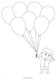 Legendary Preschool coloring pages - boy with balloons Preschool Coloring Pages, Coloring Sheets For Kids, Free Coloring Pages, Coloring Books, Printable Shapes, Templates Printable Free, Craft Instructions For Kids, Egypt Crafts, Teddy Bear Pictures
