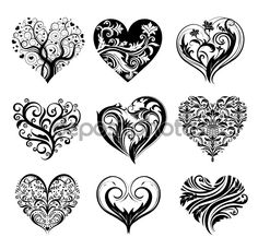 Baixar - Corações de tatuagem vector — Ilustração de Stock #61857959