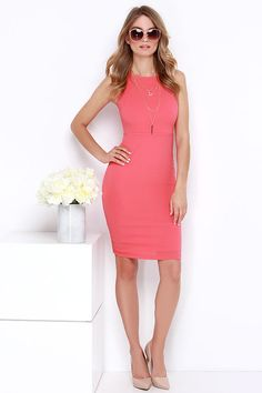 Bright Idea Coral Bodycon Midi Dress at Lulus.com!
