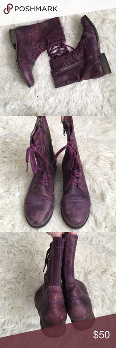 Steve Madden Purple Lace Up Troopa Booties These are AMAZING in person! No flaws on them. Purple distressed leather. Zip up sides and lace up fronts. NO TRADES PLEASE Steve Madden Shoes Combat & Moto Boots