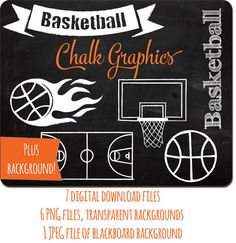 Basketball Chalk Clipart, INSTANT DOWNLOAD, digital graphics chalk basketball, basketball hoop backboard, basketball court, commercial ok.