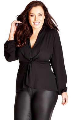 City Chic Knot Front Top - Women's Plus Size Fashion City Chic - City Chic Your…