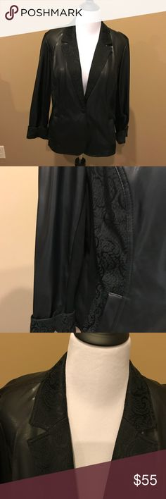 Chico's black faux leather blazer Chico's black faux leather blazer.  Texture enhancements make it easy to dress up or down. Worn once. Excellent condition. Nonsmoking has me. Chico's 3. Chico's Jackets & Coats Blazers