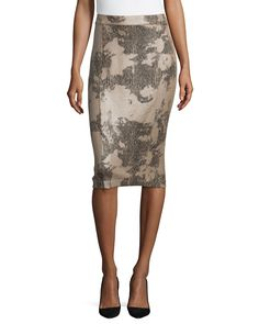 Snake-Print Slim Pencil Skirt, Size: 8, Beige Combo - Carmen by Carmen Marc Valvo