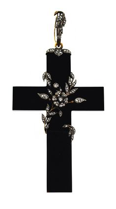 Georgian Antique Black Cross Pendant Wrapped in Diamond Vines