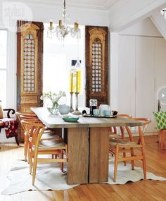 Mixed wood dining ro
