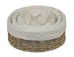 Set of 3 Cotton Lined Round Seagrass Tray - http://redhamper.co.uk/set-of-3-cotton-lined-round-seagrass-tray/  #wickerstoragebaskets #shoppingbaskets