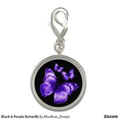 Black & Purple Butterfly Charm Photo Charms, Purple Butterfly, Memorable Gifts, Colorful Backgrounds, Perfume, Charmed, Pendant Necklace, Silver, Accessories