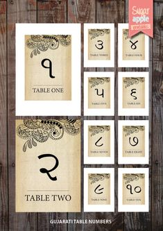 Printable Table numbering indian weddings vintage theme 'gujarati indian wedding table numbering'. $4.00, via Etsy.