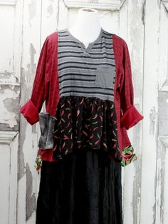 Women's Plus Size Tunic Top Chili Pepper Top Upcycled Clothing Gypsy Style Wearable Art by CuriousOrangeCat on Etsy