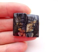 Pair Set of 2 yellow black gray Picasso Jasper octagon cabochons 23x12 mm - yellow stone earring cabochon supplies by ShungitArtCabochons on Etsy https://www.etsy.com/listing/235072077/pair-set-of-2-yellow-black-gray-picasso