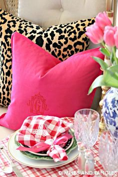 Leopard And Hot Pink Paa Monogrammed Pillows Dimples Tangles Living Room Accessories