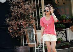 Women's O-Neck Comfort Cotton T-Shirt Pink