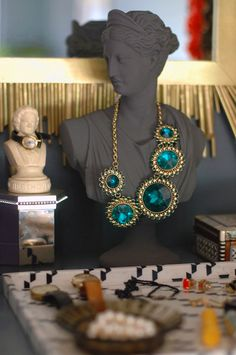 made over bust as necklace holder: love the dark grey and emerald green together: how pretty!
