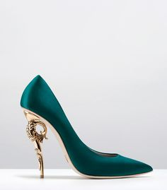 Ralph & Russo - Haute Couture Collection SHOES - STYLE 03-BAROQUE PUMPS-EMERALD SATIN WITH YELLOW GOLD HEEL www.ScarlettAvery.com