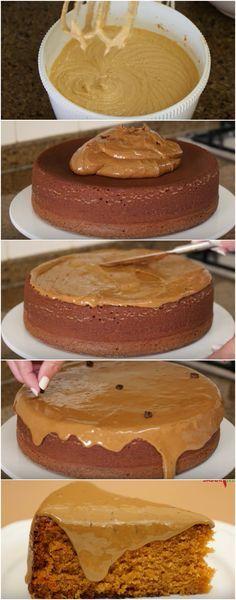 Bolo de Caramelo. Super fofinho, delicioso e fácil de fazer! Você vai amar essa receita! #bolo #bolodecaramelo