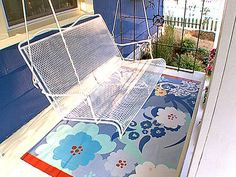 """painted """"rug"""" ideas, for screened in porch"""