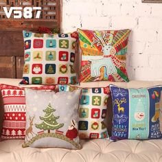 Home & Garden Cartoon Christmas Gifts Cover Pillow Happy Holiday Decorate Balls Throw Pillowcase Trees Sofa Decorative Cushion Covers 43*43 Cm Terrific Value